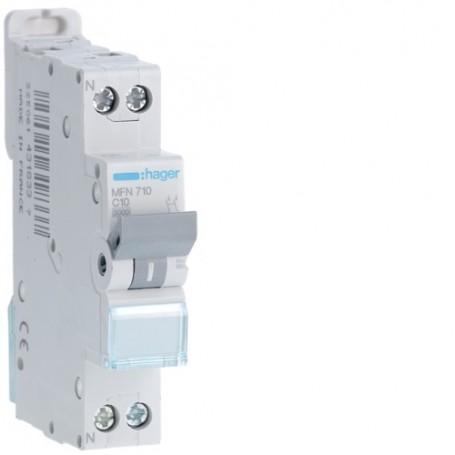 HAGER MFN710 - Disjoncteur, P+N, C-10A ,3kA
