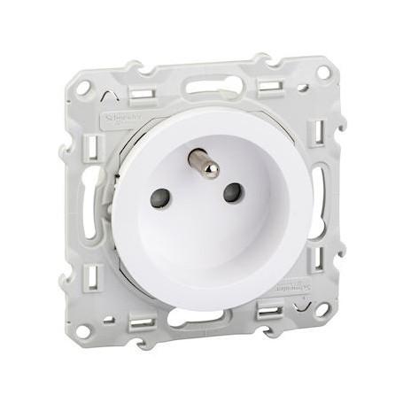 SCHNEIDER S520059 - Prise de courant, 2P+T, blanc, à vis, Odace