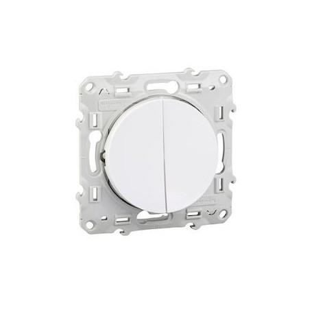 SCHNEIDER S520216 - Poussoir double, blanc, 10A, Odace
