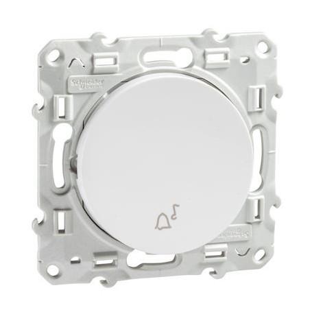 SCHNEIDER S520246 - Bouton poussoir Blanc avec symbole carillon, Odace