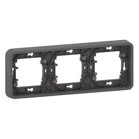 SCHNEIDER MUR34109 - Cadre, 3 postes, horizontal, Mureva, encastré, Composable, Gris