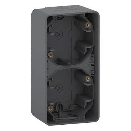 SCHNEIDER MUR37912 - Boîte, 2 postes, Mureva, verticale, Composable, saillie, Gris