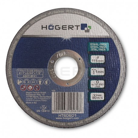 HOGERT HT6D602 - Disque de coridon pour métaux 125 x 1,0