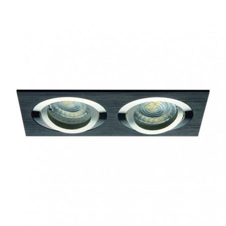 KANLUX 18284 - Spot orientable double, carré, alu-brossé, noir, SEIDY