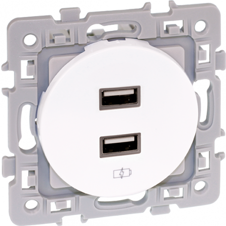 EUROHM 60229 - Prise chargeur double USB, 5V, Blanc, Square