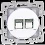 EUROHM 60273 - Prise, Double RJ45, CAT6, Grade3, Blanc, Square
