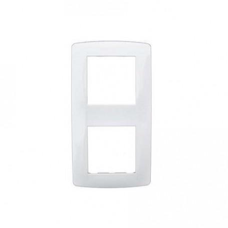 EUROHM 61897 - Plaque, 2 Postes, Entraxe 71mm, Blanc, Esprit