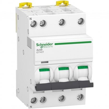 SCHNEIDER A9P32716 - Disjoncteur modulaire, 3P+N, 16A, courbe D, 4500A/6kA, Acti9, iDT40T
