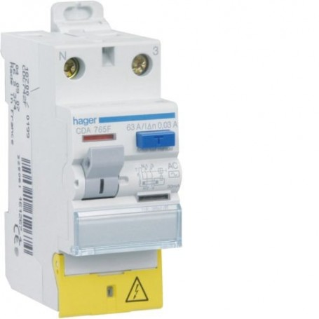 HAGER CDA765F - Interrupteur différentiel, 2P, 63A, 30mA, type A
