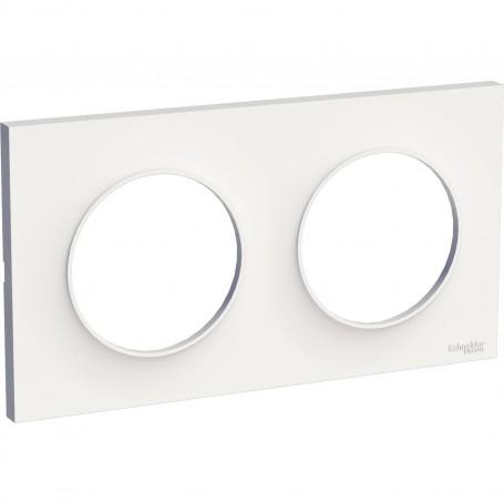 SCHNEIDER S520704 - Plaque 2 poste, blanc, Odace