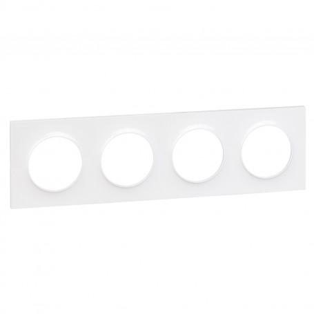 SCHNEIDER S520708 - Plaque 4 poste blanc, Odace