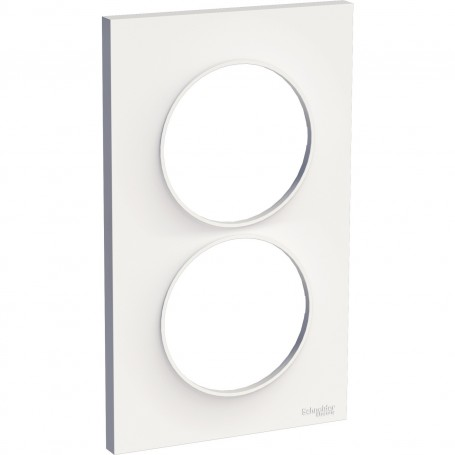 SCHNEIDER S520714 - Plaque Blanc 2 postes verticaux entraxe 57mm, Odace