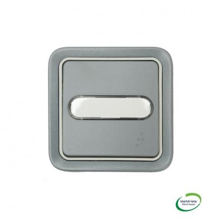 LEGRAND 069824 - Poussoir NO+NF, Porte-étiquette, Plexo, Encastré, Complet, Gris