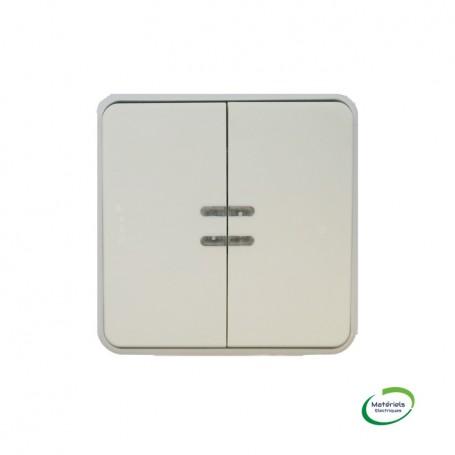 LEGRAND 069636 - Double poussoir NO+NF lumineux, Plexo, Composable, Blanc
