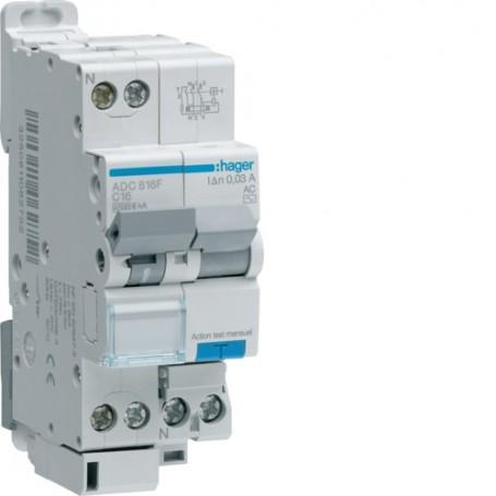 HAGER ACC816F - Disjoncteurs différentiels, 1P+N, 4,5-6kA, 10mA, Type AC