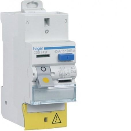 HAGER CDS743F - Interrupteur différentiel, 2x40A, 30mA, typeA, sans vis