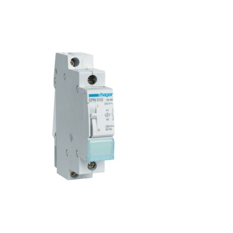 HAGER EPN510 - Télérupteur, 1F, 230V, 16A, IP20, 6 mA, 1 Module