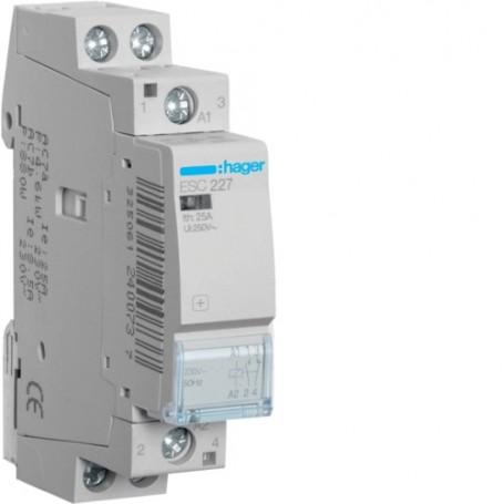 HAGER ESC227 - Contacteur, 25A, 1F+1O, 230V