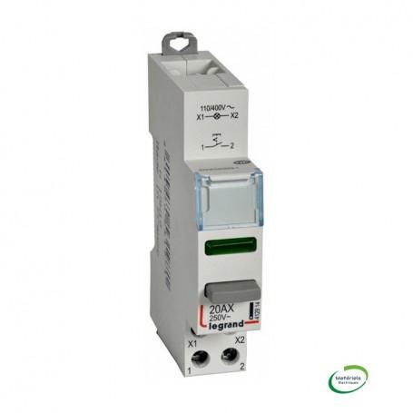 LEGRAND 412914 - Inter poussoir, 1NO, 20AX + voyant LED vert 110/400V