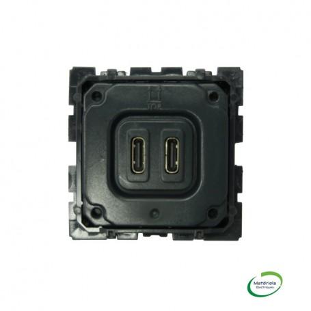 LEGRAND 067466 - Chargeur double USB C, 3A, 15W, Céliane
