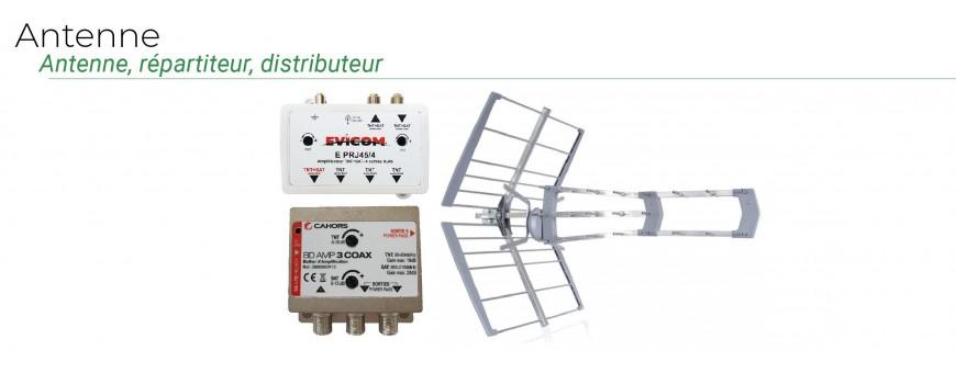 Antennes TNT, répartiteurs TV, dérivateurs pour antenne collective, amplificateur et connecteurs