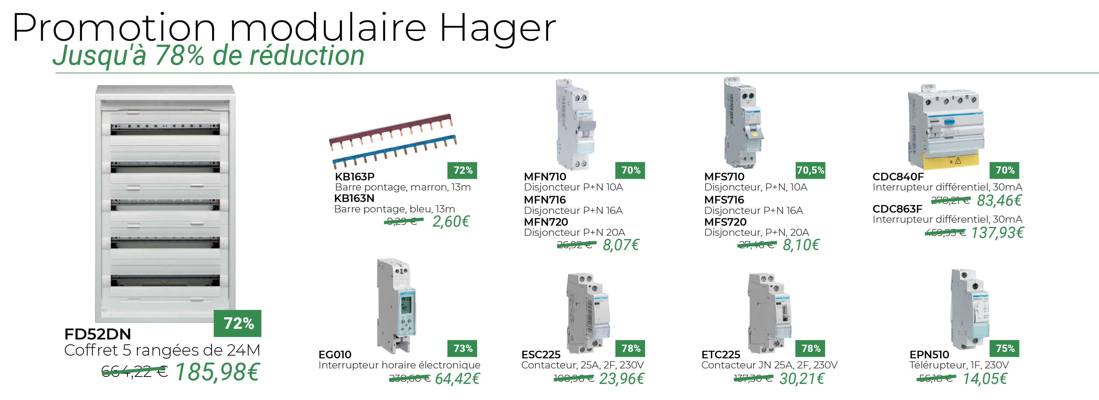 Promotion modulaire Hager